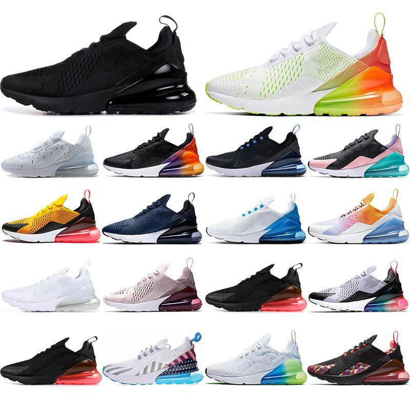 Nike air max 270 Çorap ile YENI nefes Erkek Kadın Koşu Ayakkabıları Gökkuşağı Volt Turuncu yıldız GERÇEK OLMAK Siyah Degrade Lacivert erkek eğitmenler Sneakers 36-45