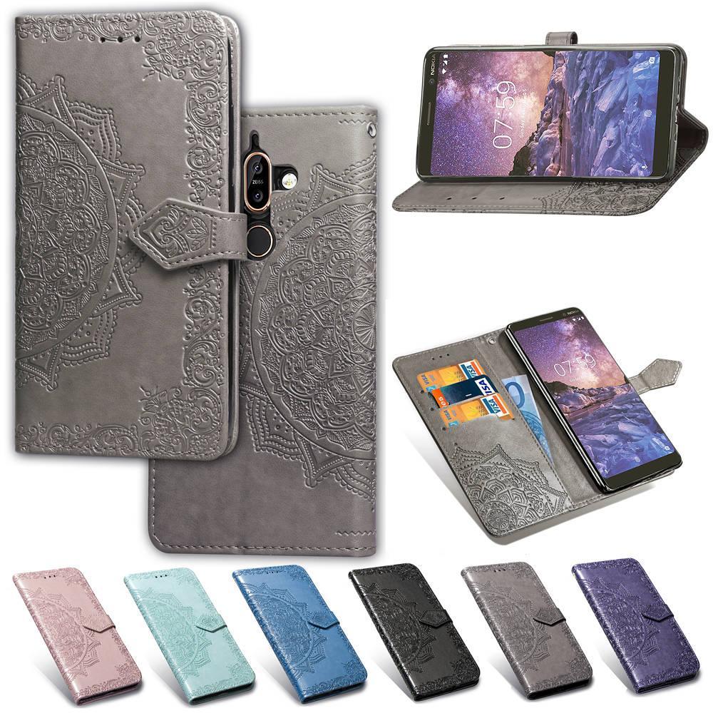 Kart Yuvası ile Nokia 7 Artı PU Deri Kapak Kabartmalı Datura Çiçekler Kaymaz Yüzey Cüzdan kılıflar (Model: NOKIA7PLUS / 7 +)