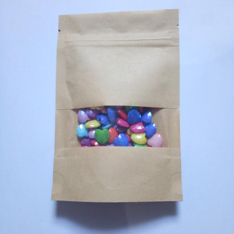 Hot 18cmx30cm stand-up zip lock brown kraft paper bag leisure nut bag with matte window and gift packing ziplock Bags