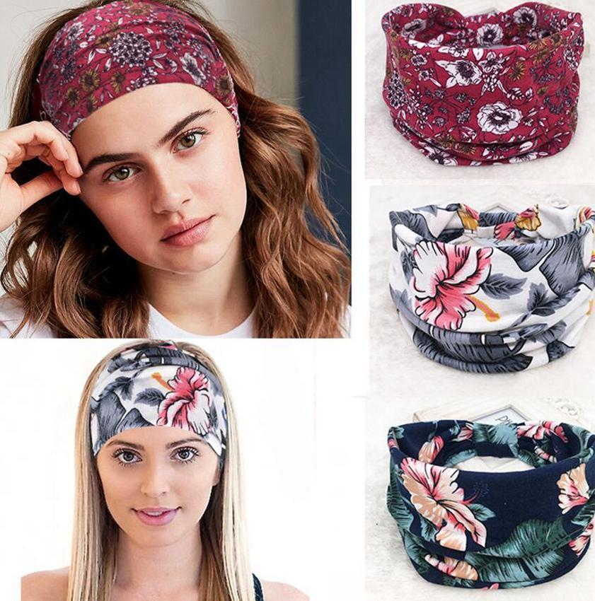 Boho Geniş Stretch Kadınlar Kafa Headwrap Turban Şapkalar Saç Bantları Geniş Yoga Saç Bandı Turban Headband çevirin