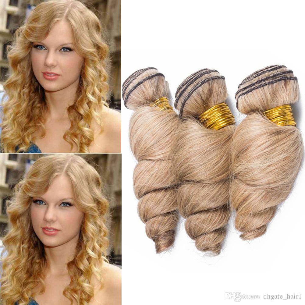 Honey Blonde Loose Wave Brazilian Virgin Hair 3Bundles 300Gram Pure 27 Light Brown Loose Wavy Human Hair Weave Extensions Double Wefts