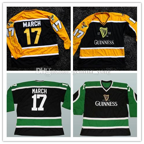 Guinness March Irish Stout Beer Maillot de hockey sur glace St Patricks Day broderie pour homme N'importe quel Nom Nombre Maillots Vert Noir Vert Alternatif