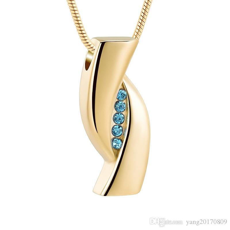 IJD12838B Edelstahl Einäscherung Gold Pendant Lake Blue Inlay Kristall Memorial für Ashes of Loved Andenken Urn Halskette Schmuck