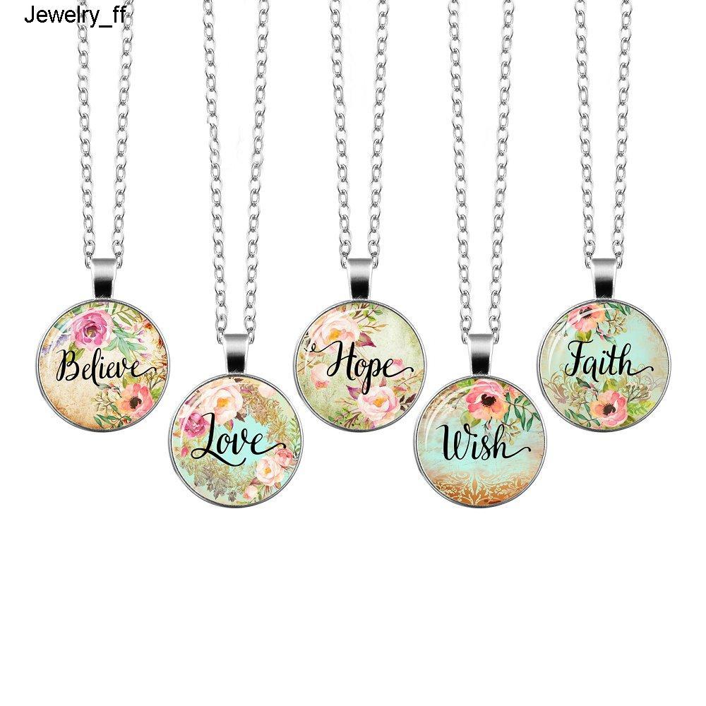 Верить Любовь Надежда Вера Мечта Библия Стих Ожерелье Стеклянный Купол Кулон Ожерелья Цитата Из Священного Писания Ювелирные Изделия Христианский Подарок
