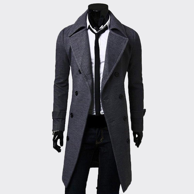 XingDeng 패션 남성 긴 블랙 더블 브레스트 방풍 재킷 남성 트렌치 코트 슬림 트렌치 코트 플러스 사이즈 최고 재킷 옷