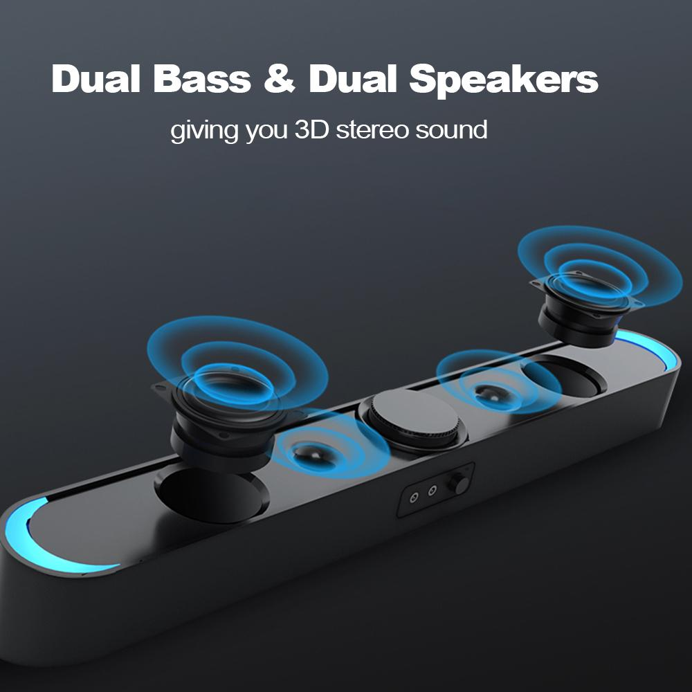 SADA USB Computer Speakers with LED Lights 3.5mm Plug Wired Soundbar Speaker for PC Cellphone Tablets Desktop Laptop Sound Bar
