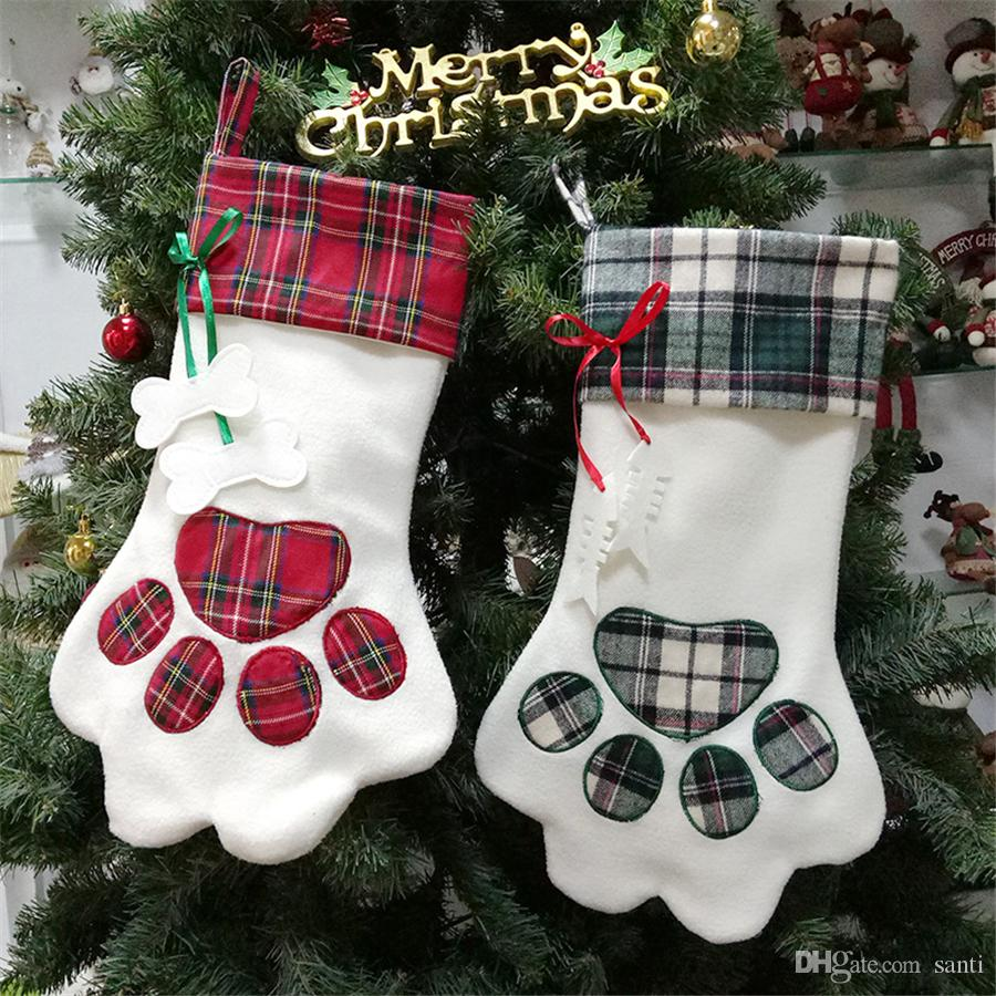 "18"" Pet Christmas Stocking Plaid Gift Sack for Cat Fireplace Xmas Tree Hanging Ornaments Pendant Dog Paw Stocking Santa Sack JK1910"