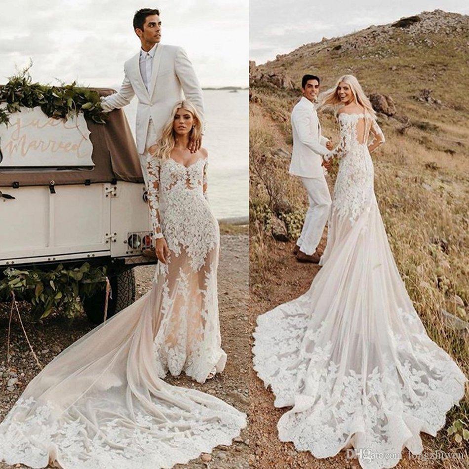 Mermaid Plus Size Wedding Dresses Off Shoulder Long Sleeve ...
