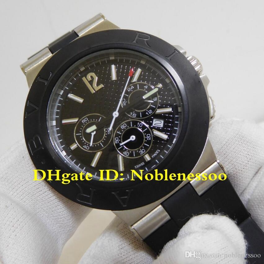 Luxo Alta Qualidade Mens Relógio Diagono Black Dial Quartz Movimento Cronógrafo Cronógrafo Bandas Relógios de Relógios de Relógios Esportivos