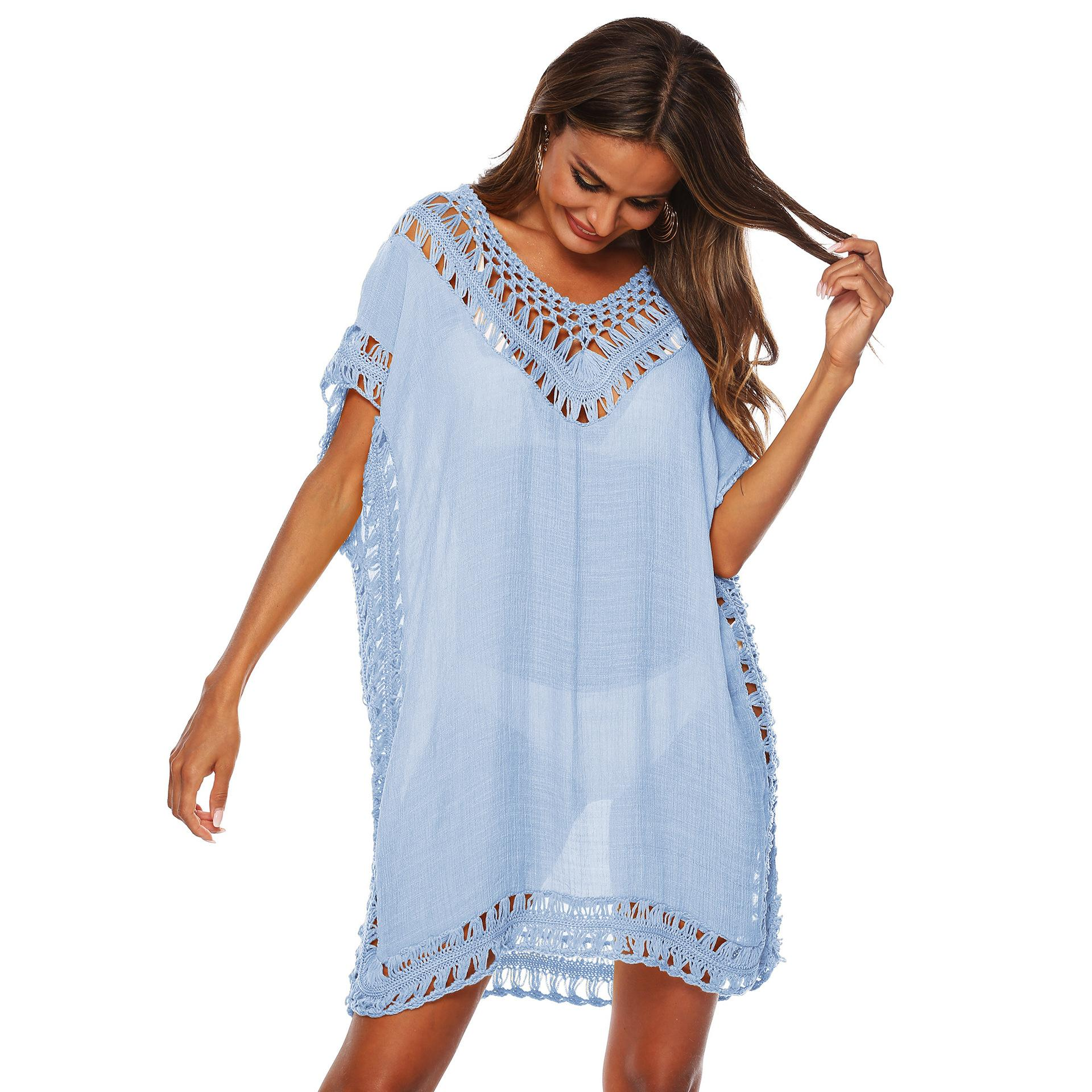 Solide Couleur V-cou Crochet Sexy Brochage creux plage Loose-Fit Bikini Cover-up Jupe