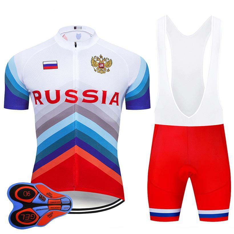 2019 Pro Team РОССИИ Летний задействуя Джерси 9D Bib Set MTB Uniform Красный велосипед Одежда Quick Dry Bike Wear Ropa Ciclismo гель колодки