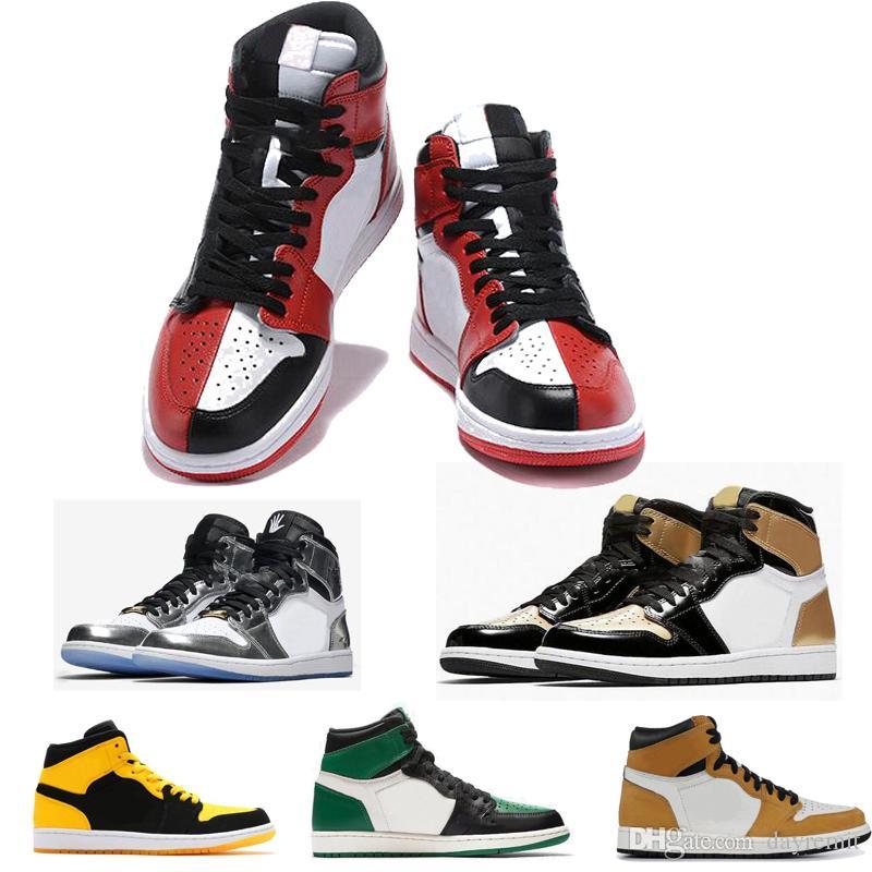 Stile classico High OG 1 UNC Brevetto Uomo 1s Punta oro Top 3 Punta nera Camaleonte Scarpe da pallacanestro Sneakers grigio neutro con cinturino