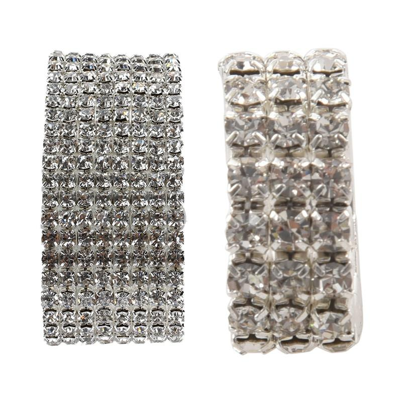Toe Ring Elastic 3-Rows rhinestones clear Wedding Jewelry 9mm Sparkling New