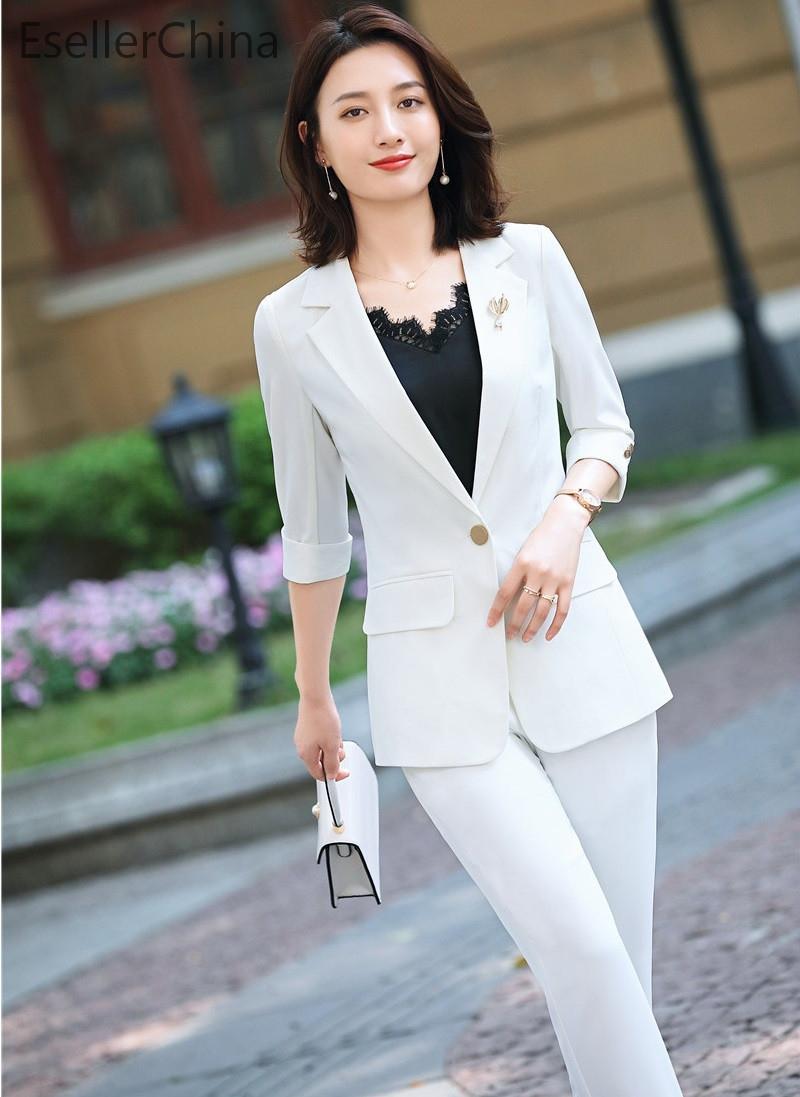 La novedad blanca Uniforme Formal Designs Pantsuits con pantalones y chaquetas de la capa de las mujeres de negocios de trabajo Estilos desgaste OL Blazers