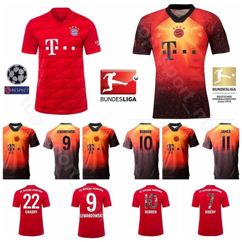 2019 رجال كرة القدم بايرن ميونيخ 9 LEWANDOWSKI Jersey Home 22 GNABRY 10 ROBBEN 11 JAMES 25 MULLER 32 KIMMICH Football Shirt Kits Uniform