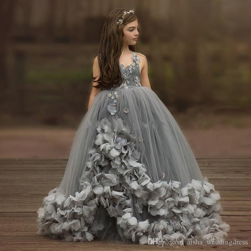 Beautiful Grey Spaghetti Strap Ball Gown Flower Girls Dresses Beaded Crystal Tulle Lace Layer Toddler Pageant Dress Kid Princess Prom Gown