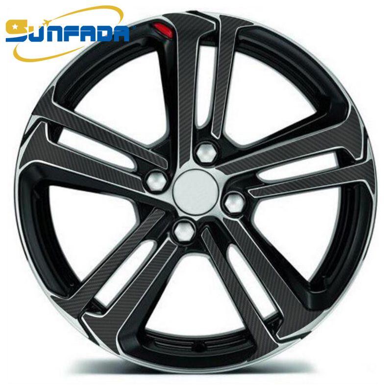 """Sunfada 15 """"16"""" 17 """"Rimprints Колесо RIM Обработка углеродного волокна Виниловые наклейки наклейки для Peugeot 108 208 2015 308 SW (T9) 2013 Car-Styling"""