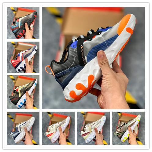 Livraison gratuite réagir élément 87 55 chaussures de sport pour hommes, femmes légère os noir triple BRED chaussures de sport de loisirs Hyper Rose formateurs des hommes de 36-45