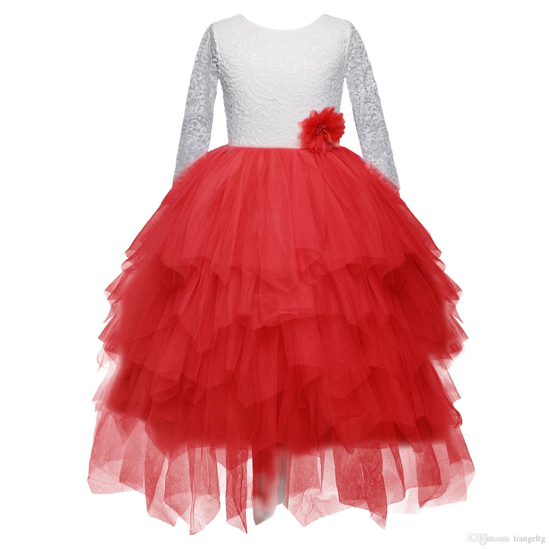 Girls Princess Dresses Top Suit Designer Clothes Lace TUTU Dress Kids Girls Dress Party Peform Costume 2-7T 04