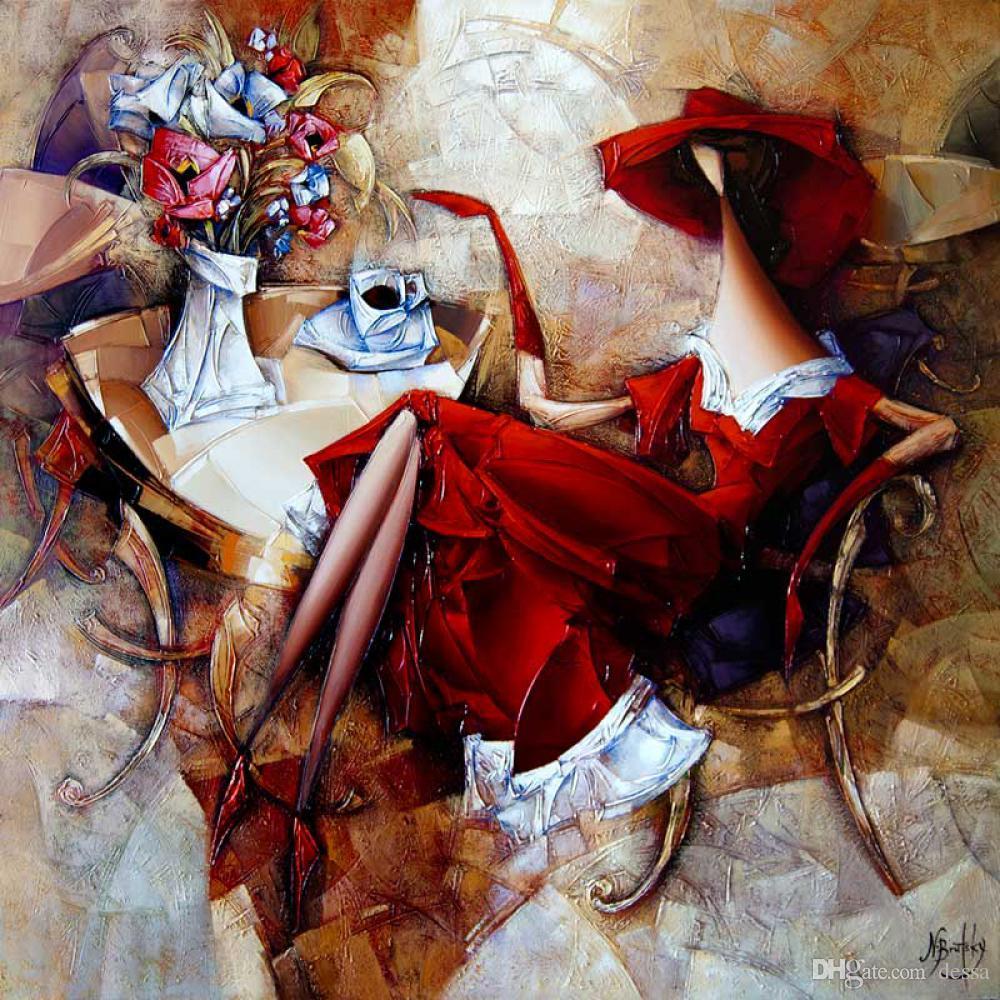 fleurs d'art de toile PaintingsCoffee amant abstrait pour la décoration chambre cadeau