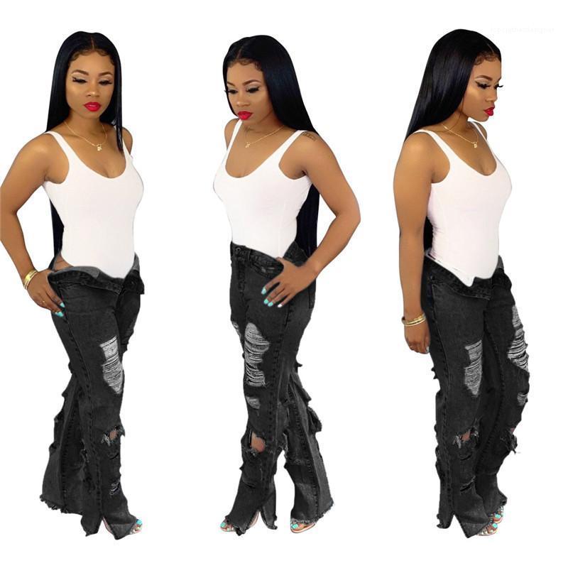 Femmes Jeans Mode Stretchyless Ripped Jeans Flare Femmes Denim Wide Leg Pantalon droit taille haute d'été