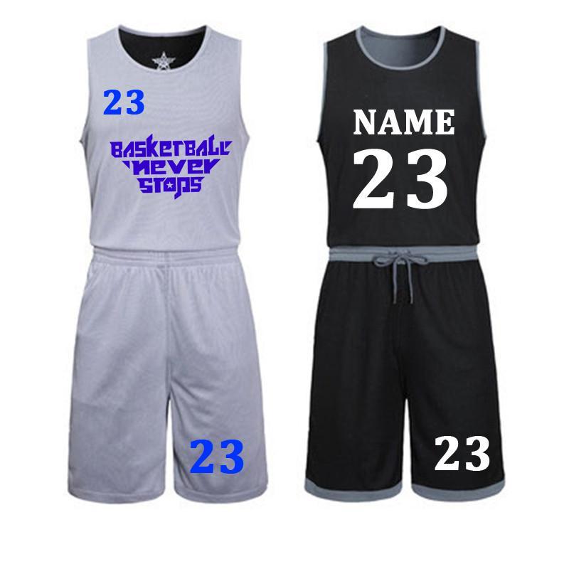 Diy Jerseys Set Uniforms Kits Child Men Reversible Basketball Shirts Shorts Suit Sports Clothes Double-side Sportswea Q190521