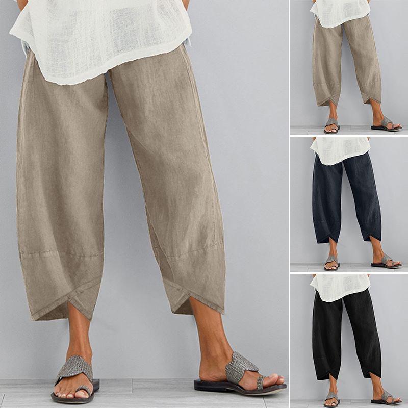 Mulheres Linho Calças Casual Verão cintura elástica Plus Size calças soltas confortável assimétrica Pantalon Oversized recortada
