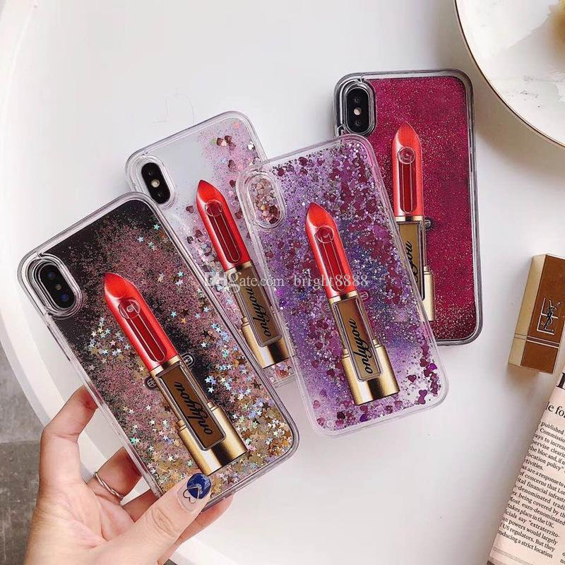 La cassa del telefono mobile del rossetto sostiene le coperture di protezione della polvere del quicksand delle coperture del guscio di polvere di colore puro all'ingrosso per il iphone X
