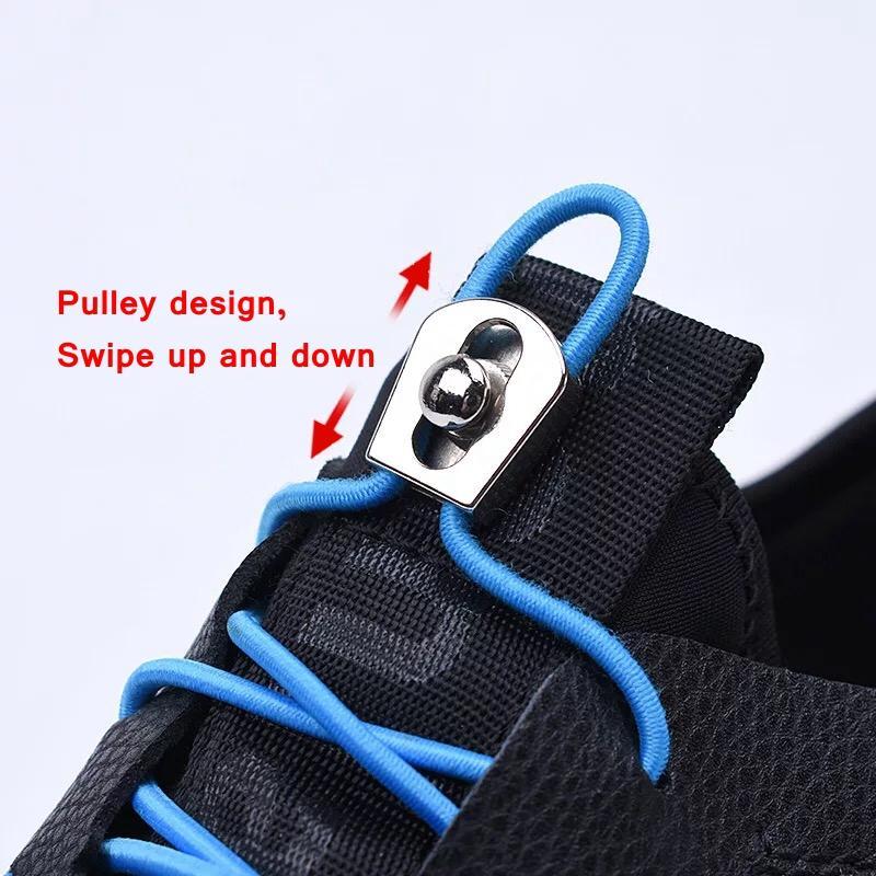 I bambini adulti Unisex rapida Sneakers merletto elastico No Tie scarpe Shoestrings lacci di metallo riflettente Blocco Lacci shoeslace