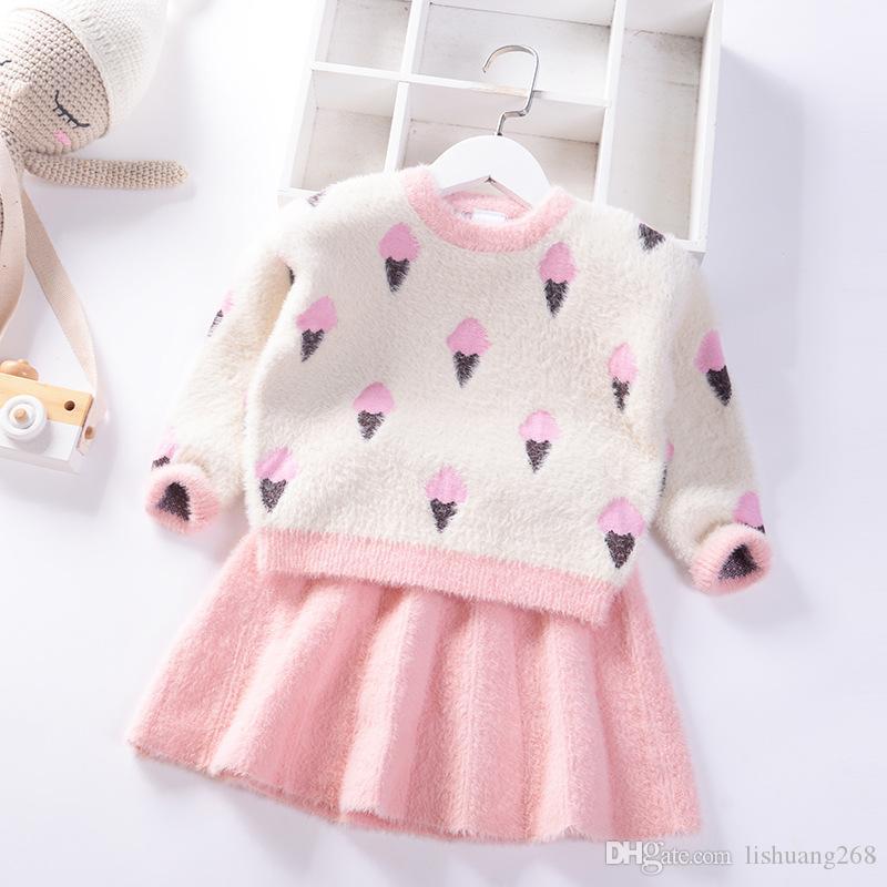 2020 가을 겨울 여자 스웨터 드레스 점퍼 어린이 스웨터 어린이 의류면 아기 밍크 벨벳 풀오버 + 니트 스커트