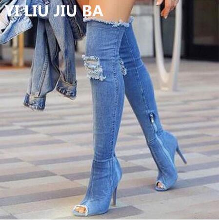 Sexy Stivali da donna Stivali Alti Donna sopra il ginocchio alto Bottes Peep Toe Pumps Blue Hole Tacchi Zipper Denim Jeans Scarpe Botas G248