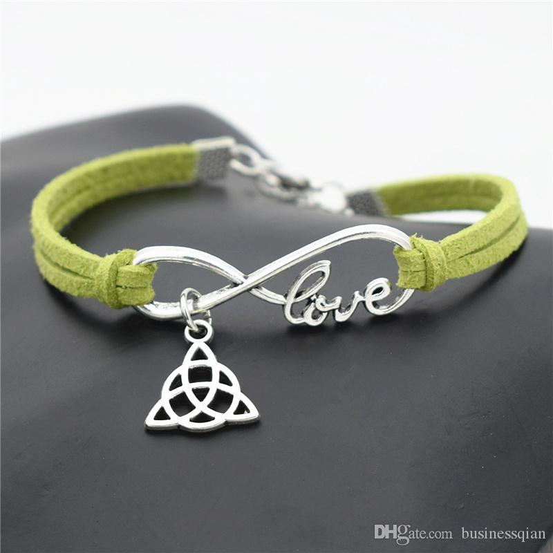 2019 New Arrival Mens Infinity Love Triangle Symbol Trinity Knot Pendant Green Leather Suede Charm Bracelets Bangles Women Wristband Jewelry