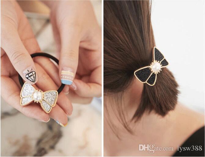 120pcs / lot DIY simple Bandas múltiples Paillette Bowknot de la perla del pelo de la elasticidad de la goma de Estilismo Herramientas Accesorios HA1217