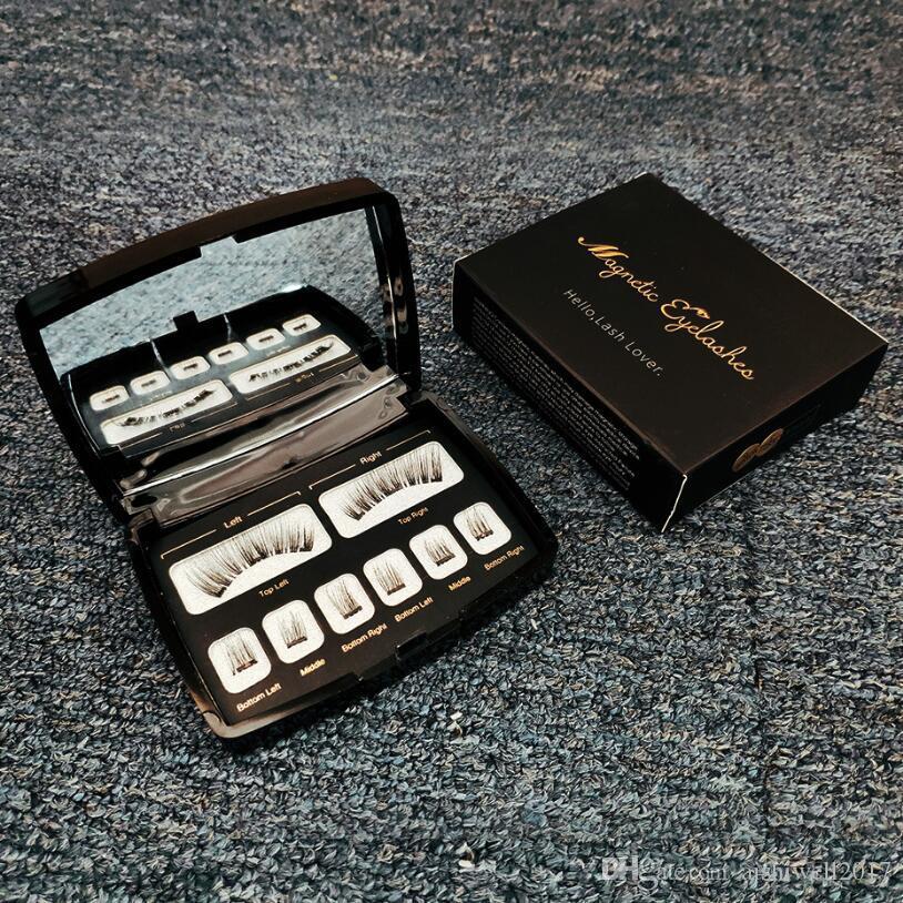 8pcs 6D Magnetic Eyelashes Mink Lash Full Strip Lashes False Eyelash With Tweezers Mirror Double Magnet Fake Lashes Black White Box