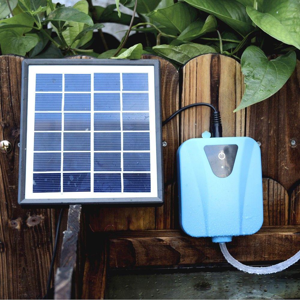 L'énergie solaire / DC de charge Aquarium Pompes à air Pompe à oxygène Fish Tank eau oxygénateur Aérateur pour aquariums hydroponique