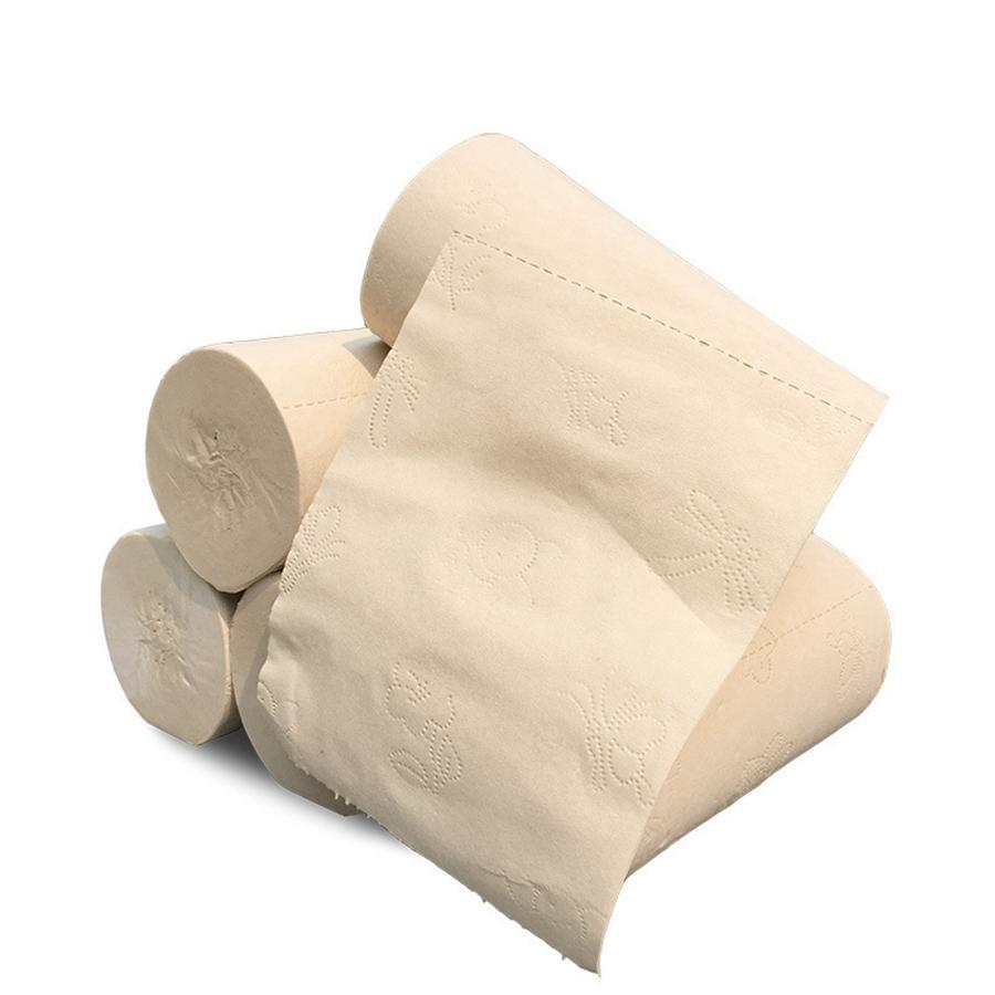 Trasporto veloce di bambù e fibra di Legno Carta Igienica naturale non sbiancato e non aggiunto a quattro strati di carta laminati necessità quotidiane RRA3032