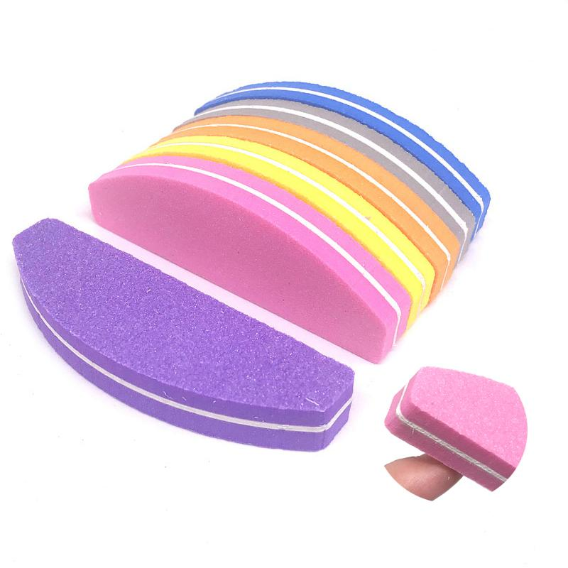 New 5pcs/lot Colorful Moon Nail File Nail Buffer Buffing Block Manicure Polish Sanding 100/180 Sponge Nagel Vijl Mini Files