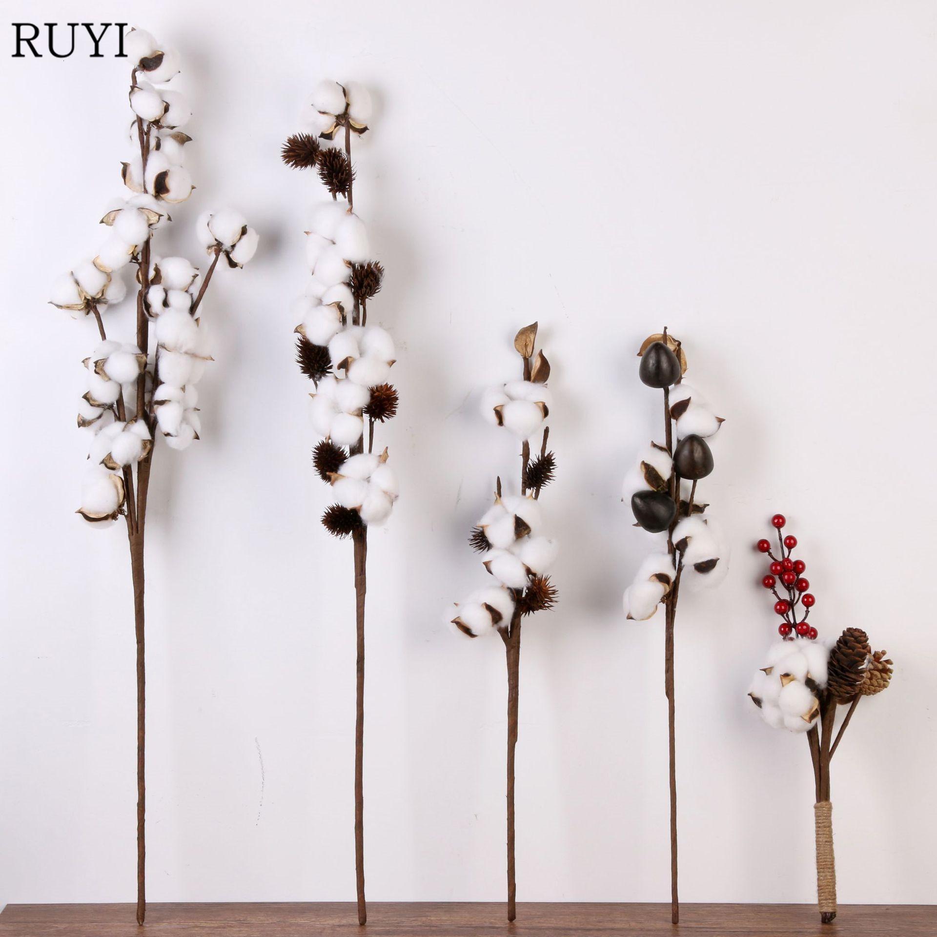 Nuevo estilo de la flor artificial de algodón 2 colores sola rama decoración de la boda flor de la simulación de bricolaje para el hogar del partido de oficina 1 PCS T191029