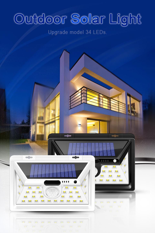 Solar lights Outdoor Motion sensor wall lamps Waterproof Emergency light Suitable for Garden Front door Garage Fence Power display function