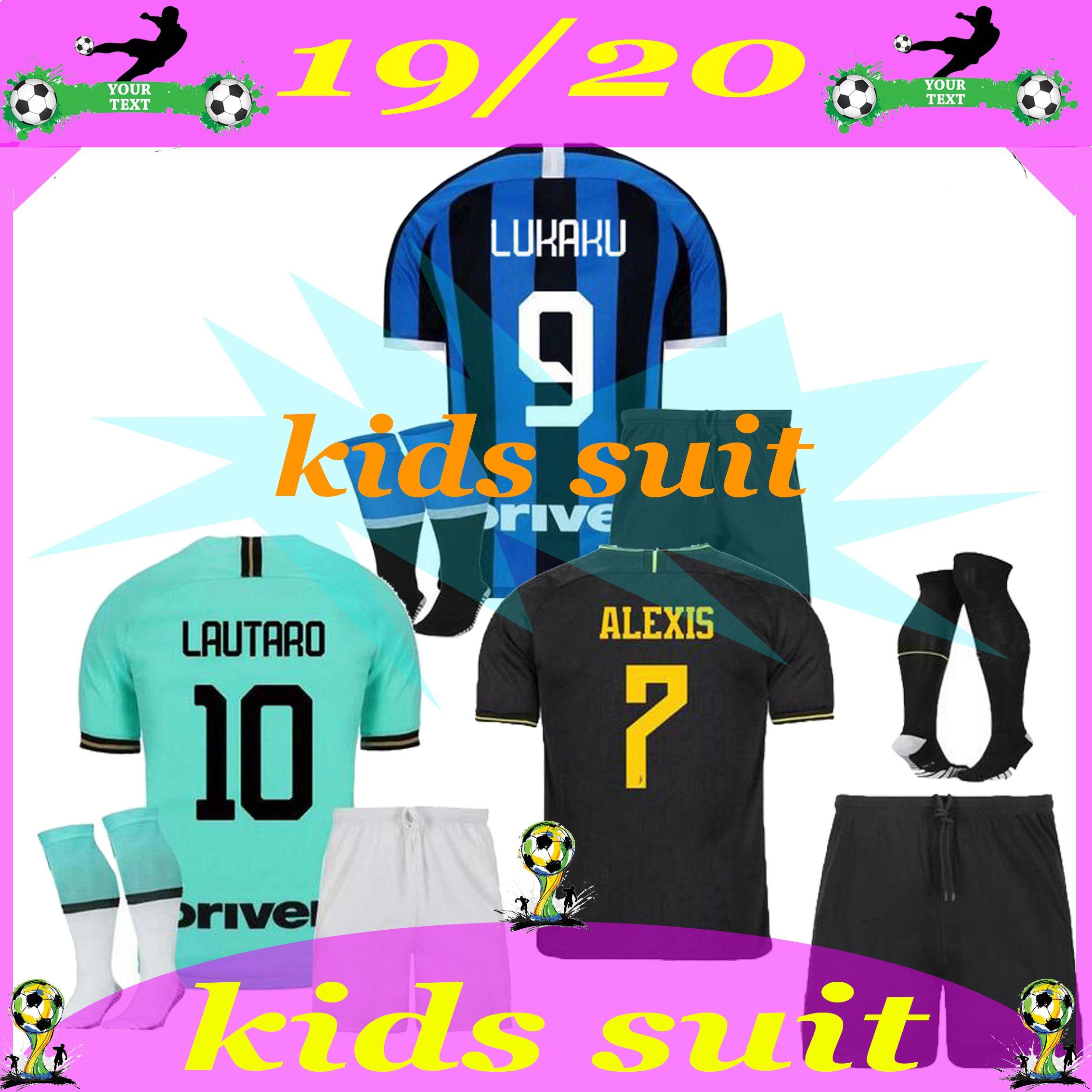 kids suit LUKAKU ALEXIS Inter Skriniar Barella 2019 2020 Milan soccer jerseys maillot de foot Lautaro Godín D'Ambrosio football jersey