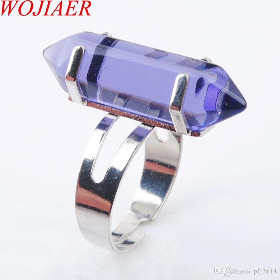 Wojiaer Unique Ring for Women Natural Stone Round Beads عرضية Finger Rings فيوليت كوارتز Silver Color Party Jewely DX3046