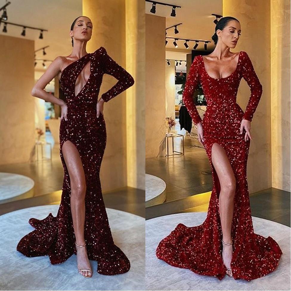 2020 Sparkly fendu sur le côté sexy des robes de bal une épaule pailletée manches longues Robes de soirée évider bling robe de célébrité