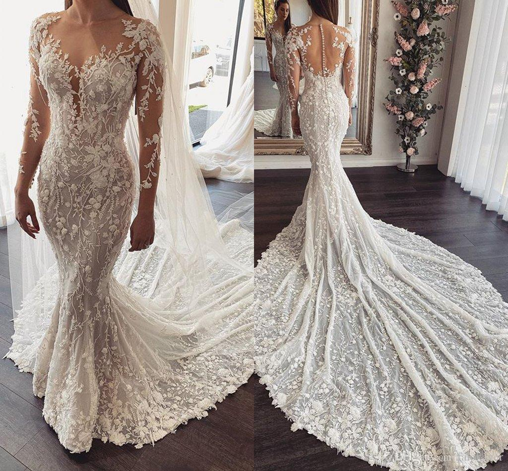 New Elegant Mermaid Wedding Dresses Long Sleeve Court Train Country Bridal Gowns Plus Size Trumpet Bridal Gown Customize Robes De Mariee Wedding Dresses Designer 2015 Wedding Gowns From Faiokaver 176 84 Dhgate Com