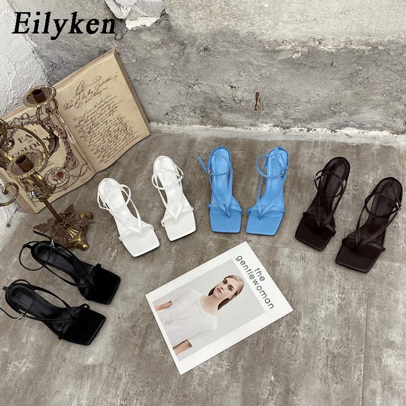Eilyken été nouvelle mode Pincez bande étroite des femmes Spartiates dames place toes cheville Boucle Sangle Stiletto Talons CX200616