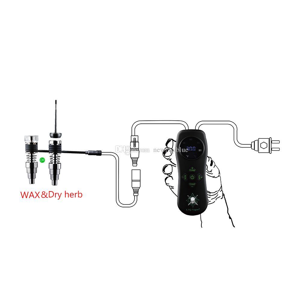 LTQ Vapor IE-prego Wax vaporizador erva seca Vape Kit Controle de Temperatura Herbal Vaper 100w Fit For Vaper Dab Rig vidro de água Bubbler Cachimbo