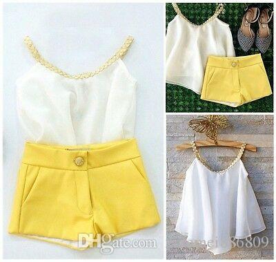 패션 아이 유아의 아기 소녀 쉬폰 의류 홀터 탑스 티셔츠 + 바지 여름 복장