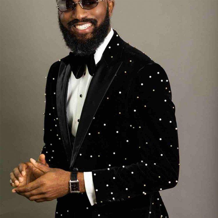 Luxo Beads Mens casamento smoking noivo desgaste do partido Prom Slim Fit One Button Ternos Custom Made Bonito Blazer Só Uma Jacket