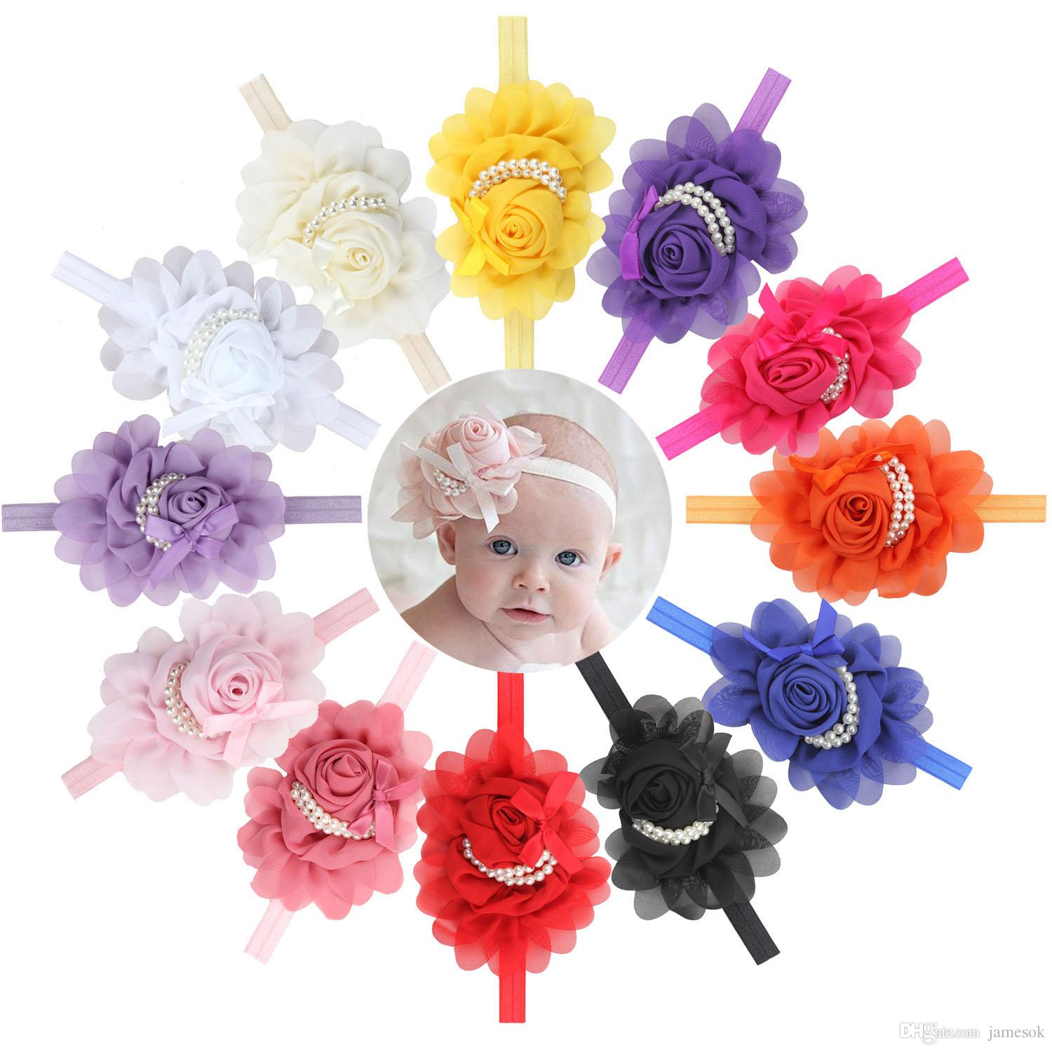 Hot ! Baby Girls Kids Lovely Roses Pearls Hair Bands Vintage Flowers Hair Accessories Pretty Headbands Infant Headbands 13 Color BD0032