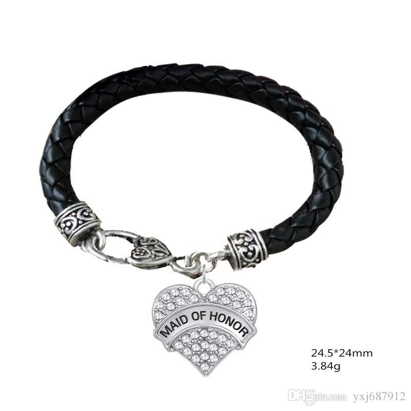 BTT19 Heart shaped Rhodium Plated Crystal Pendant Engrave Letter MAID OF HONOR and BEST FRIENDS Pendant lether Bracelet