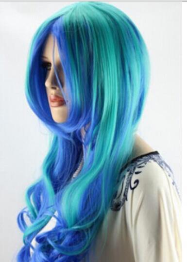 FREE SHIPPING+ ++ New Blue fashion Hair Wig Long Wavy Wig